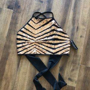 Fashion Nova NWT sequin top golf black Sz 1X